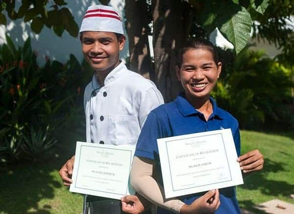 Chef's Aid Chhorvy, & Sarom from Housekeeping Receive November Star Employee Certificates
