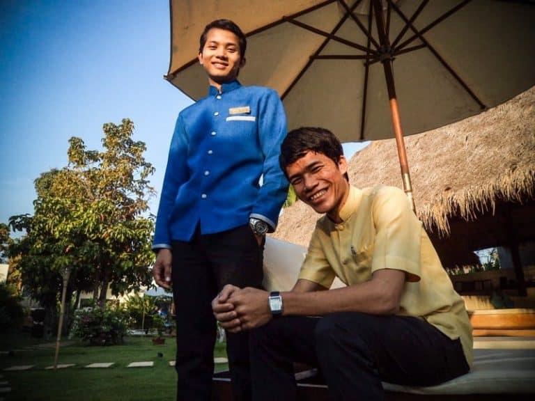 Food Supervisor Hem Sela & Junior Receptionist Siek Senghong Receive December Star Employee Certificates