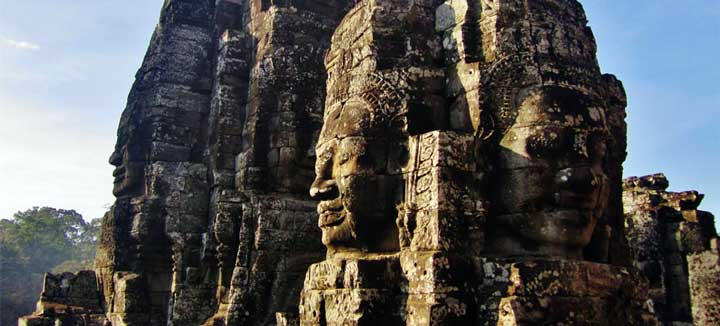 The Bayon Temple is located in Angkor Archeaological Park in Siem Reap Cambodia. Stay at Navutu Dreams, a Luxury Resort a revered hotel in siem reap