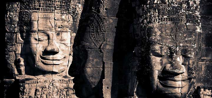 Visit the Bayon Temple and stay at Navutu Dreams, one of the many hotels in Siem Reap